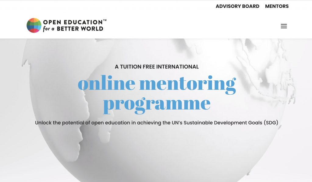 Open Education for a Better World web site-- text reads A TUITION FREE INTERNATIONAL online mentoring programme Unlock the potential of open education in achieving the UN's Sustainable Development Goals (SDG)
